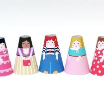 paper dolls cone girls slide