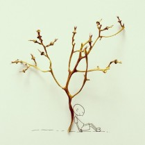 Leaning against a grapeless tree © Cintascotch
